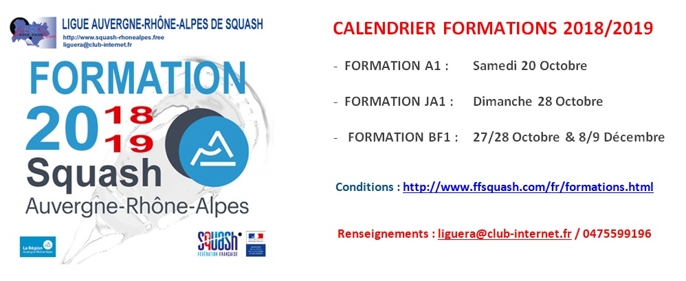 calendrier formations 2018-2019