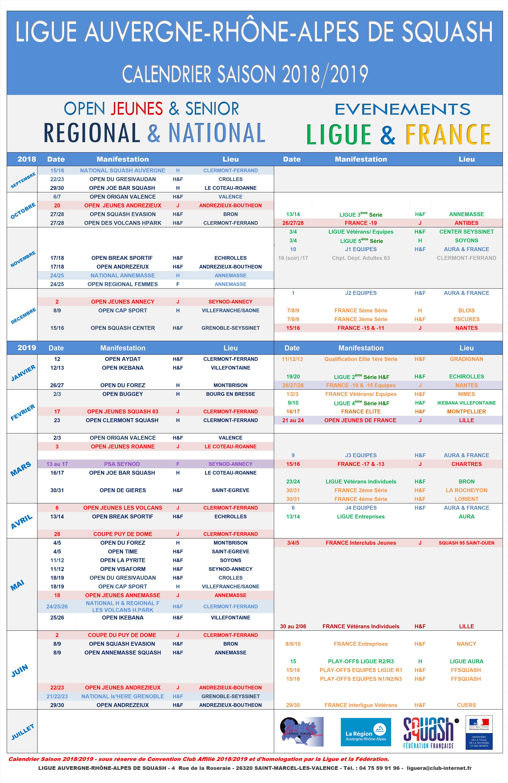 Calendrier ligue 2018-2019